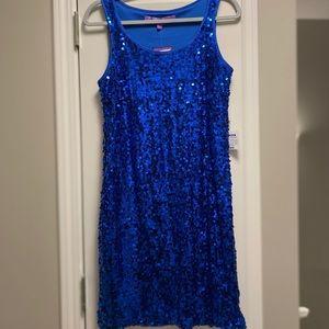 Blue Sequin Cocktail Dress 🦋